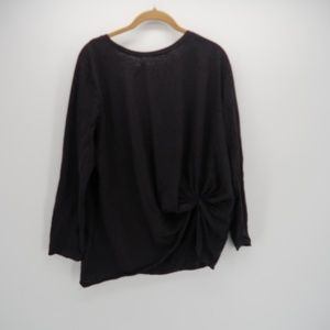 Umgee Black Knot Side Long Sleeve Blouse Size M